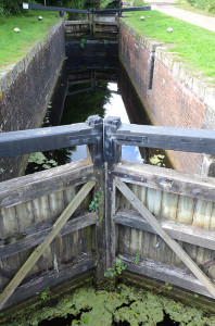 Picture of lock gates leading into a narrow canal lock