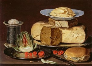 Dutch still life painting of cheeses, cherries and bread against a dark background